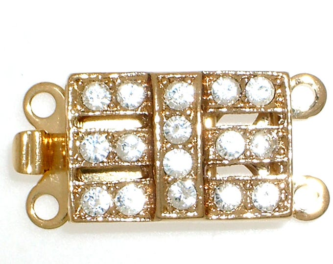Two-Strand Small Rectangular Box Clasp in Gold or Rhodium Finish with Swarovski Crystals, 13x9mm