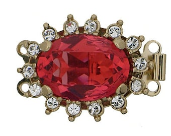 Two-Strand Padparadscha Swarovski Crystal Oval Clasp in Gold Setting, 21x16mm