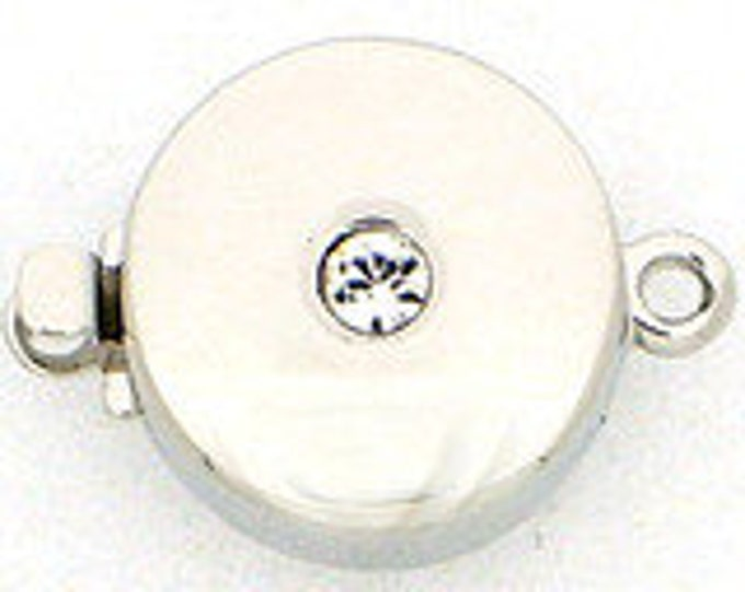 One-Strand Classic Round Box Clasp in Gold or Rhodium Finish with Center Swarovski Crystal, 12mm