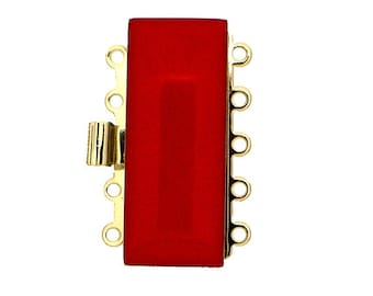Five-Strand Enamel Box Clasp in Six Colors, 25x10mm