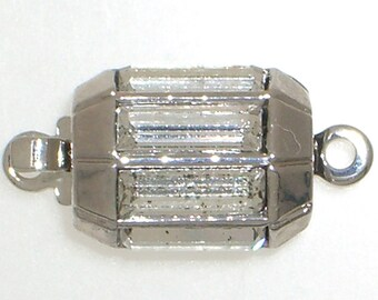Small, Half-Octagon One-Strand Box Clasp with Swarovski Crystals in Gold or Rhodium Finish, Perfect for Weddings, 10x8mm
