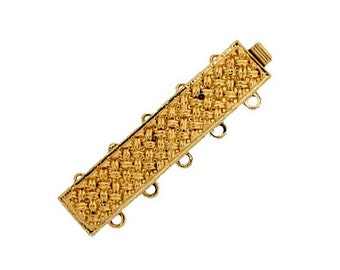 Five-Strand Basket Weave Slide Clasp in Gold or Rhodium Finish, 32x7mm