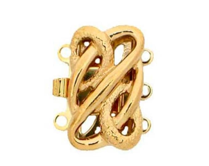 Three-Strand Open-Work Box Clasp in Gold or Rhodium Finish, 12x10mm