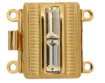 Two-Strand Box Clasp with Baguette Center in Gold or Rhodium Finish, 17x13mm