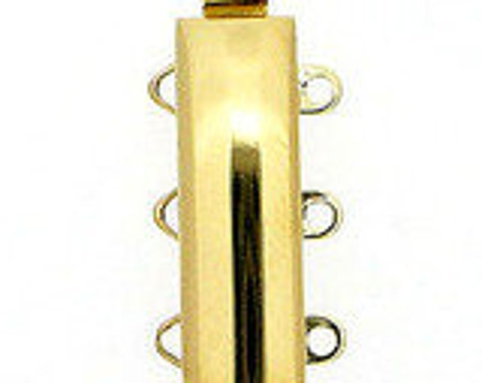 Three-Strand Light Gold Slider Clasp,  19x6mm