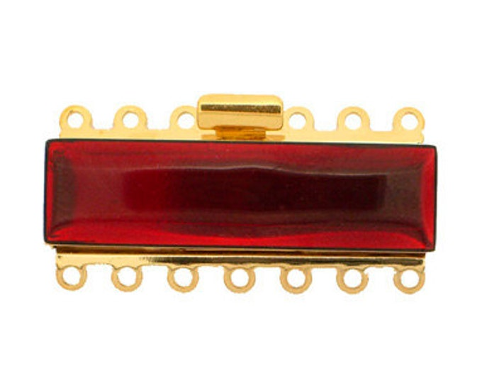 Seven-Strand Enamel Cuff Bracelet Clasp in Three Reds, 37x10mm