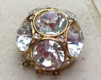 Three-Strand Domed Swarovski Crystal Clasp in Gold or Rhodium Finish,  25mm
