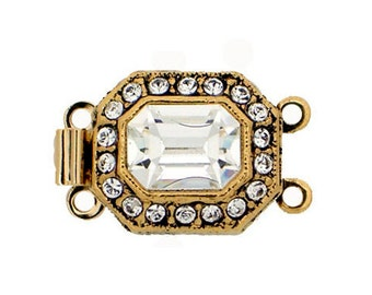 Octagon-Shaped Two-Strand Clasp in Two Antique Finishes with Swarovski Crystals, 14x12mm