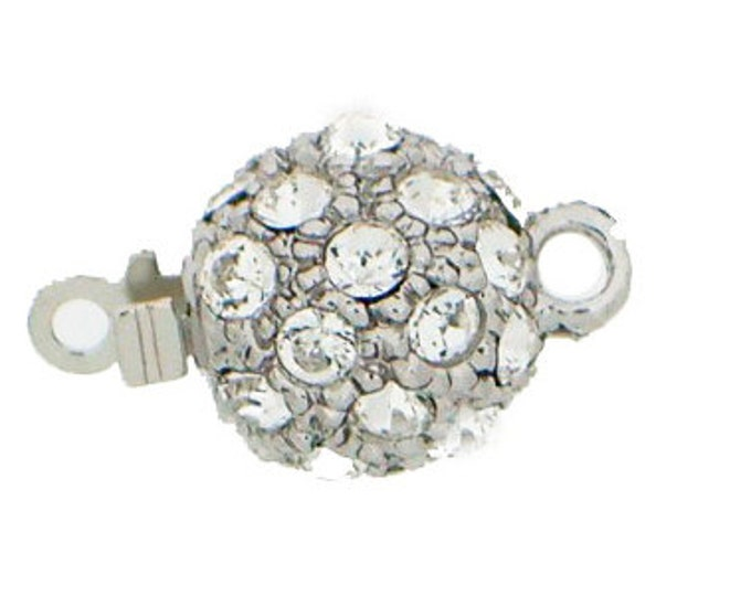 Small, Single-Strand Swarovski Crystal-Studded Ball Box Clasp in Rhodium or Gold Finish, 8mm