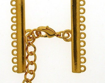 Narrow Nine-Strand Lobster Clasp in Gold or Rhodium Finish, 35mm