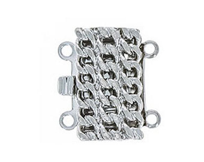 Two-Strand Rope Box Clasp in Gold or Rhodium, 8x15mm