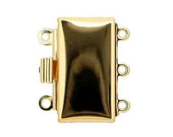 Three-Strand Rectangular Box Clasp in Gold or Rhodium Finish, 19x10mm