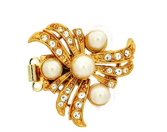 Two-Strand Pearl Necklace Box Clasp With Four Pearls and Swirls of Swarovski Crystals in Gold or Rhodium Finish,  27mm