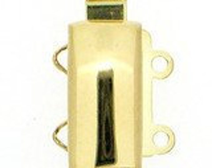 Two-Strand Light Gold Slider Clasp, 13x6mm
