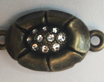 One-Strand Oval Magnetic Clasp in Two Finishes - Shiny Black Copper and Antique Brass - with Swarovski Crystals, 20x15mm