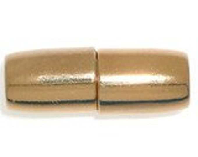 Magnetic Clasp for Kumihimo or Leather in Gold or Rhodium Finish, 15x7mm, Inside Diameter 4.3mm