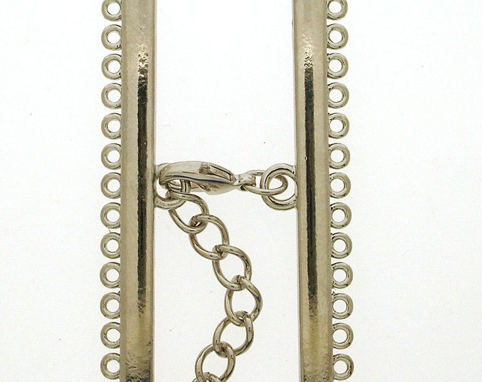 Narrow Fifteen-Strand Lobster Clasp in Gold or Rhodium Finish, 55mm