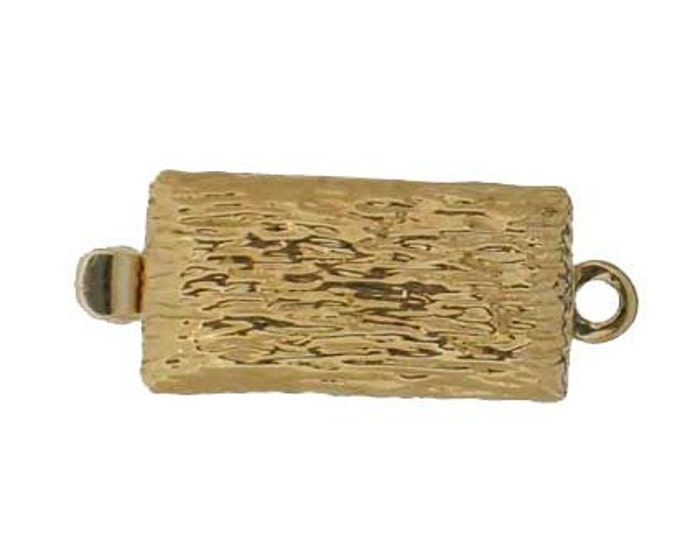"One-Strand ""Tree Bark"" Box Clasp in Gold or Rhodium Finish, 6x16mm"