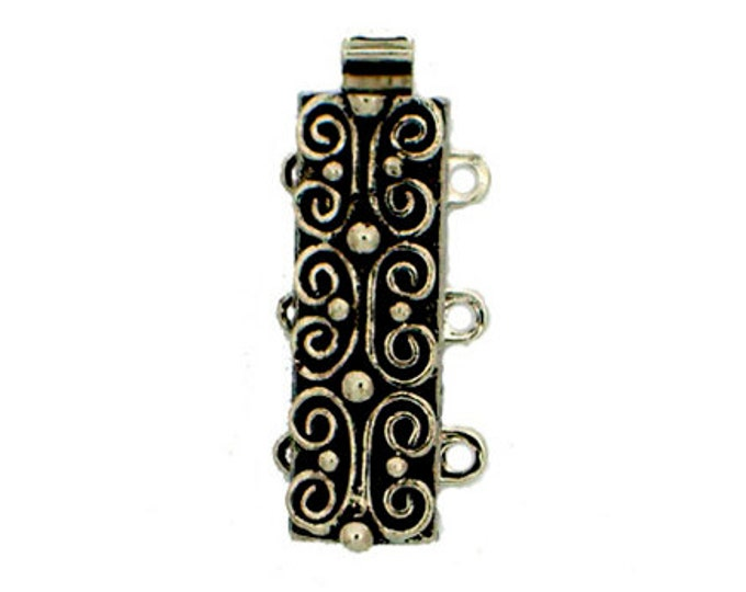 Three-Strand Scroll-Patterned Slider Clasps in 2 Antique Finishes, 19x7mm
