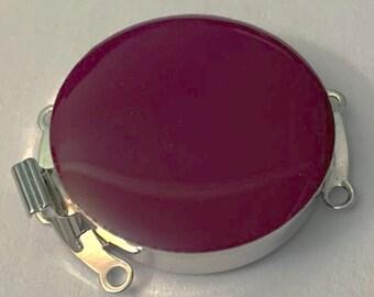 Three-Strand Round Enamel Clasp in Fuchsia with Rhodium Finish, 25mm