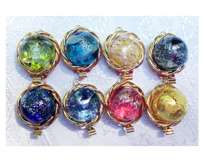 One-Strand Murano Glass Clasps in Nine Colors, Gold or Rhodium Setting, 16mm