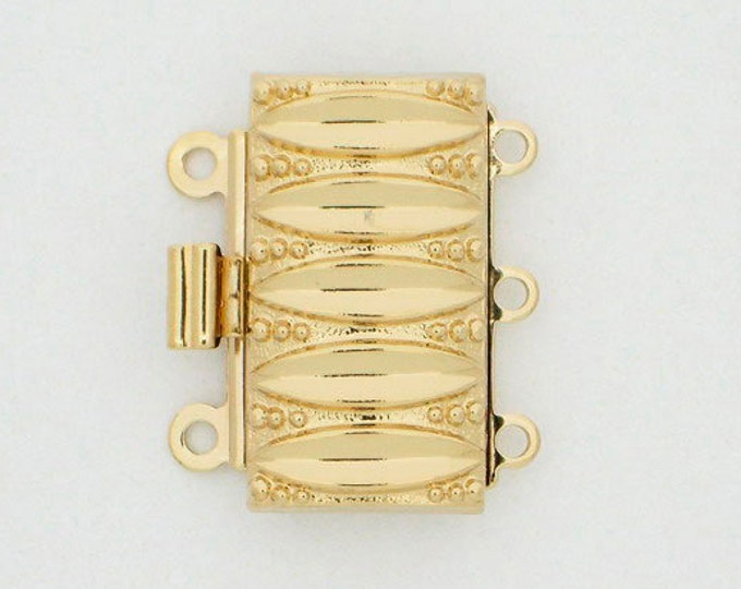 Three-Strand Light Gold Patterned Clasp,  19x10mm