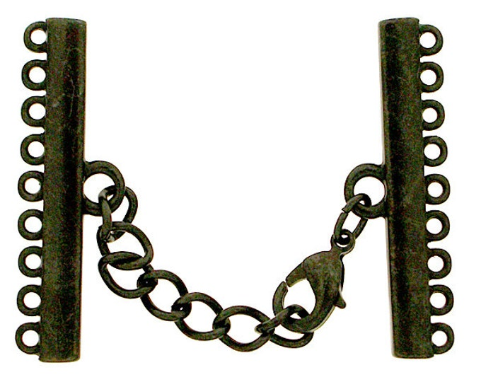 Narrow Nine-Strand Lobster Clasp in Black Copper or Antique Brass Finish, 35mm