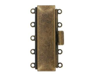 Five-Strand Cuff Bracelet Box Clasp in Antique Brass, 35x10mm