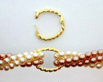 Small, Twisted Rope Oval Pearl Shortener Beads in Sterling Silver or Light Gold, 19x14mm