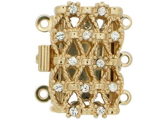 Delicate Three-Strand Rope and Crystal Clasp with Swarovski Crystals in Gold or Rhodium Finish, 20x12mm
