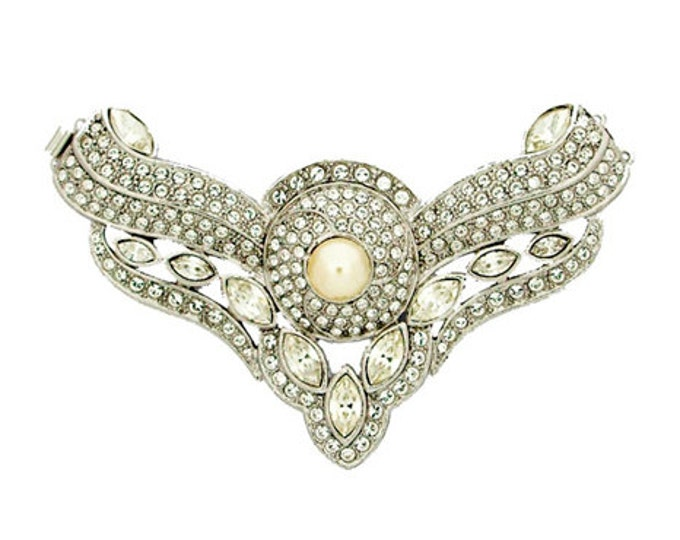 Magnificent Edwardian Two-Strand Festoon Pearl Clasp with Swarovski Crystals in Gold or Rhodium Finish, 74x41mm