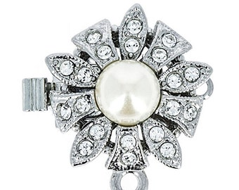 One-Strand Pearl and Swarovski Crystal Festoon Pendant Clasp Without Pearl Drop in Gold or Rhodium Finish, 17x17mm