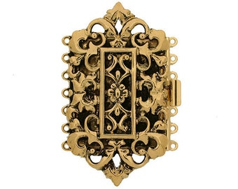 Seven-Strand Rococo Cuff Bracelet Clasp in Old Gold and Old Palladium Finishes, 55x30mm
