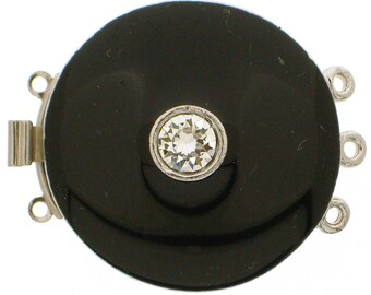 Three-Strand Black Enamel Round Box Clasp with Swarovski Crystals in Gold or Rhodium Finish, 27mm