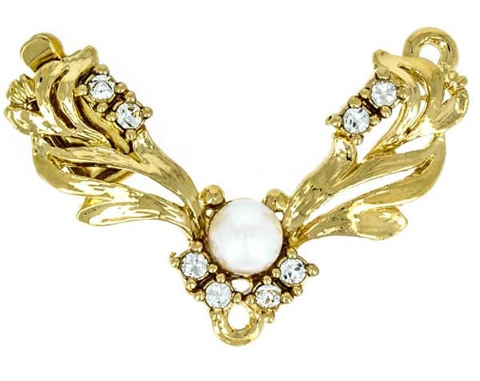One-Strand Pearl and Swarovski Crystal Festoon Necklace Clasp Without Pearl Drop in Gold, 30x20mm