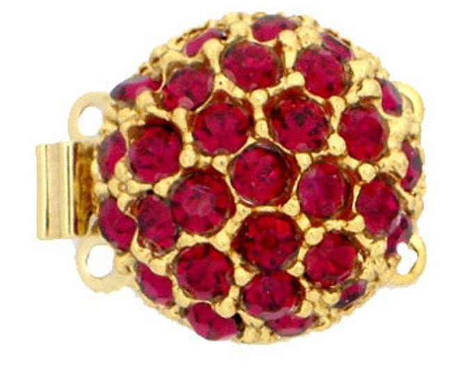 Two-Strand Round Box Clasp with Siam Swarovski Crystals in Gold Finish, 14mm