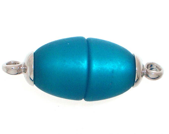Oval Polaris Magnetic Clasps with Rhodium End Caps in Turquoise, Two Finishes, 25x10mm