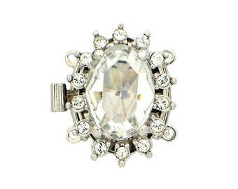 Swarovski Crystal Two-Strand Oval Box Clasp in Gold or Rhodium Finish, 21x16mm