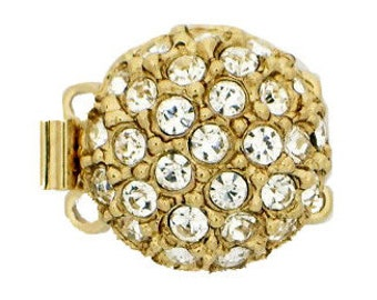 Two-Strand Round Box Clasp with Swarovski Crystals in Rhodium or Gold Finish, 14mm