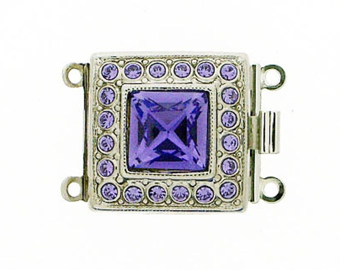 Two-Strand Box Clasp with Tanzanite Swarovski Crystal in Rhodium Finish, 17x17mm