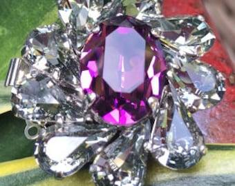 Three-Strand Swarovski Crystal Clasp in Amethyst and Black Diamond, 35x32mm, 15mm Deep