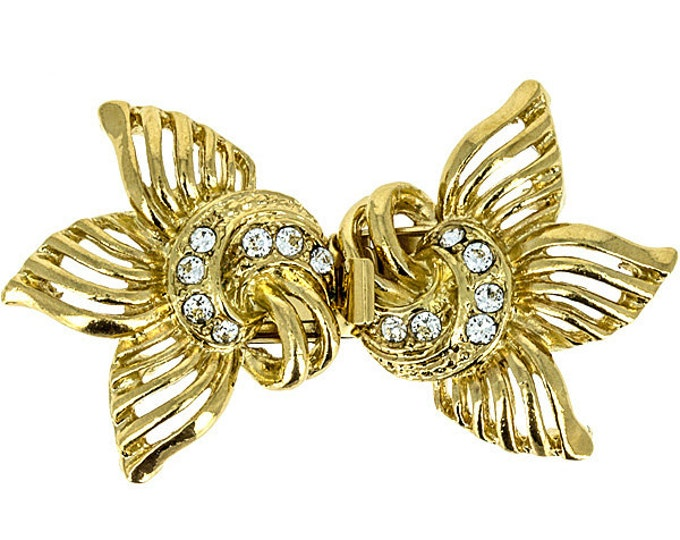 Five-Strand Stylized Flower Double Box Clasp in Rhodium or Gold Finish with Swarovski Crystals, 26x47mm