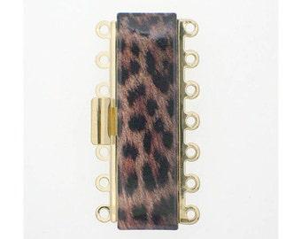 Seven-Strand Leopard-Print Cuff Clasp in Gold Finish, 36x10mm