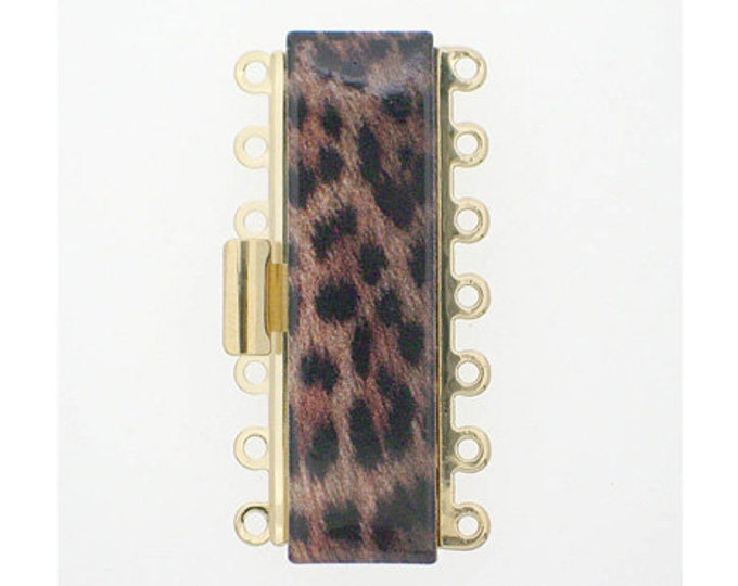 Seven-Strand Leopard-Print Cuff Clasp in Gold Finish, 36x10mm
