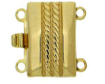 Two-Strand Box Clasp with Center Rope Detailing in Light Gold, 13x8.5mm