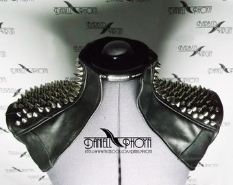 Genuine Leather Vest with spikes shoulders