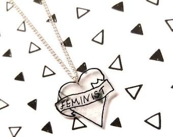 Feminist Necklace, Feminist By Heart, Plastic Necklace, Heart Necklace, Feminist, Feminism, Feminist Jewelry, Feminist Banner