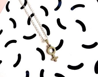 Small Feminist Symbol Necklace, Feminist Jewelry, Feminist Gift, Gift for her, Minimalist Necklace, Feminist Necklace, Venus Symbol