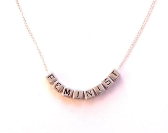 Feminist Necklace, Letter Necklace, Feminism, Nasty Woman, Anagram Necklace, Anagram, Statement, Necklace, Feminist