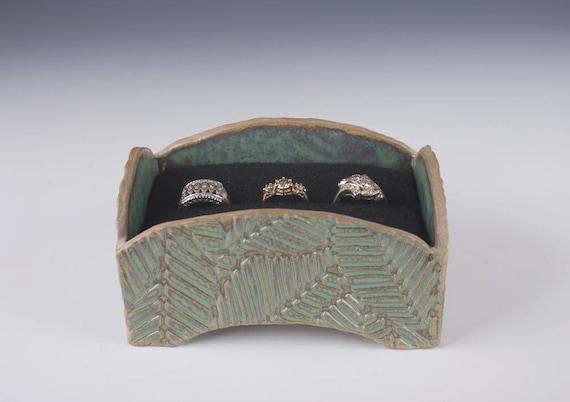 Medium sized ceramic box, multiple ring box, hand made, slab built,  stoneware, seafoam green, leaf pattern